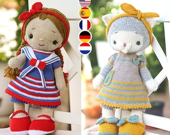 knitting Pattern / doll clothes for a large cat bunny  doll lamb (15 inches tall) - Toy Clothes Knitting Pattern