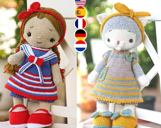 Toy Clothes Knitting Pattern for a large cat bunny  doll lamb (15 inches tall)