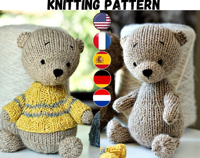Toy Knitting Pattern for a bear / Plus knitting pattern for a sweater and a hat (17 cm/6.7 inches) /DPNs and 2 needles versions included
