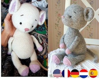 Mouse knitting pattern (13 inches tall) - Toy Knitting Pattern