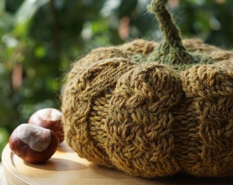 KNITTING PUMPKIN PATTERN / Rustic style Knitted Pumpkin Tutorial