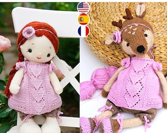 Toy clothes knitting pattern for toys - Pink Heart Girl's Outfit