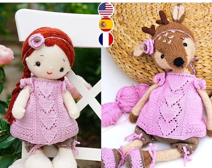 Doll clothes knitting pattern for toys - Pink Heart Girl's Outfit - Toy Clothes Knitting Pattern