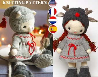 """knitting pattern for doll clothes / Knitting patterns PDF - Outfit """"Reindeer Style"""" - Toy Clothes Knitting Pattern"""