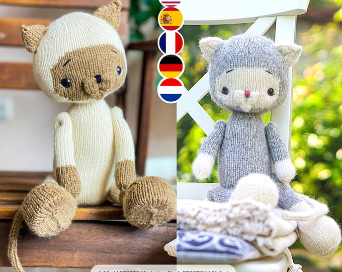 Toy Knitting Pattern for a large cat (15 inches tall)