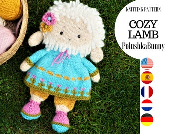 Toy knitting pattern for a lamb with a clothes (10 inches tall)