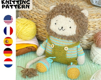Toy knitting pattern for a lion with a clothes (10 inches tall)