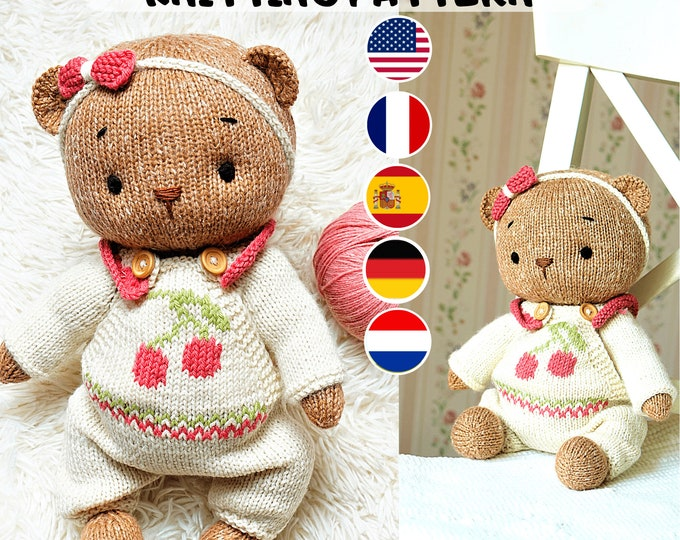 """Toy clothes knitting pattern for Teddy Bear Clothes Pattern / Knitting patterns PDF - Outfit """"Cherry"""""""