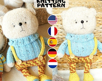 Toy knitting pattern for a bear with a clothes (10 inches tall)