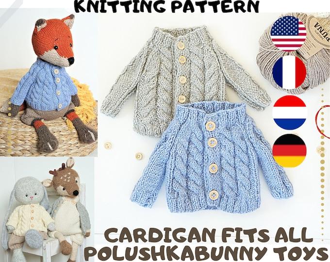 Toy clothes knitting pattern - Aran Cardigan (2 needles version)