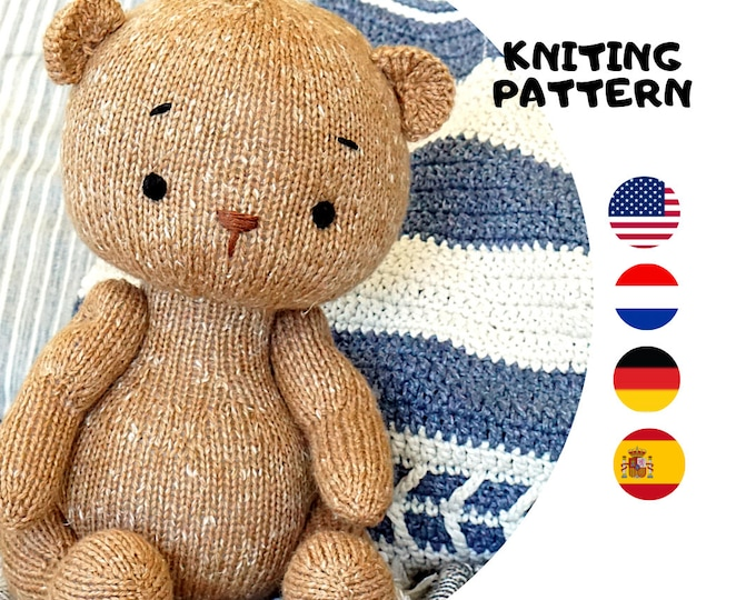 Toy Knitting Pattern for a bear (15 inches tall) / DPNs version