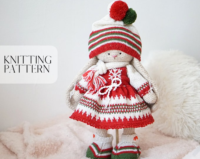 Toy clothes knitting pattern for a bunny