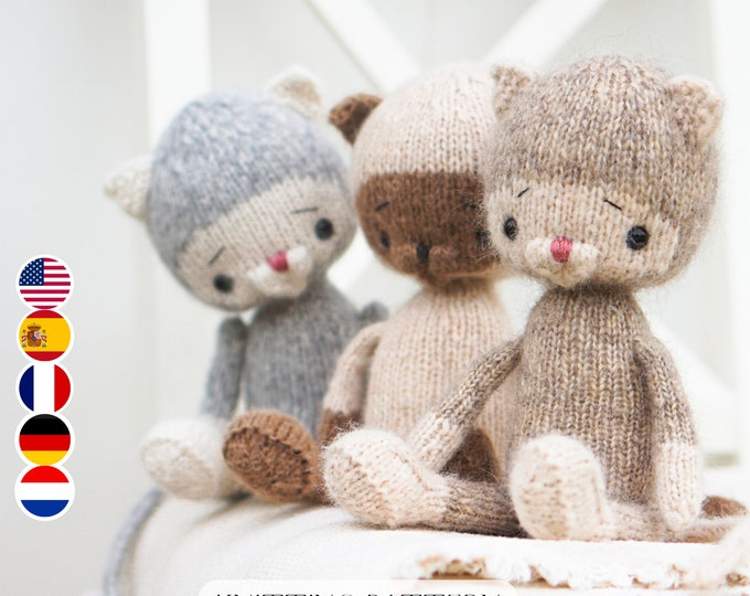 Toy Knitting Pattern for a little cat (10 inches tall)