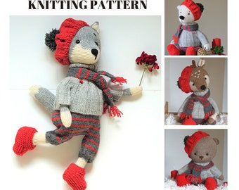 Toy clothes knitting pattern for toys - La France - Outfit for Reindeer Bear Wolf Fox