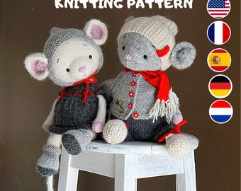 Toy knitting pattern for mouse with a clothes for boy and girl (13 inches tall)