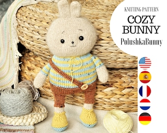 Toy knitting pattern for a bunny with a clothes (10 inches tall)