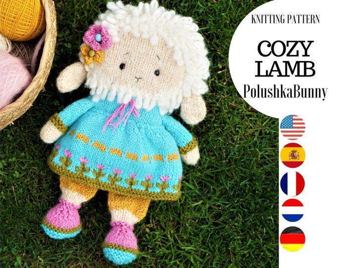 Lamb knitting pattern (10 inches tall) - Toy Knitting Pattern