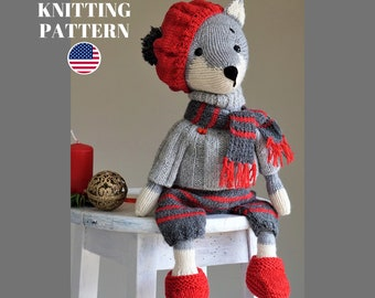 Christmas Knitting Set - Pattern for Wolf or Fox and Toy clothes set - by Polushkabunny