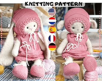"""Doll clothes knitting pattern for toys - Outfit """"Pinky"""" - Toy Clothes Knitting Pattern"""