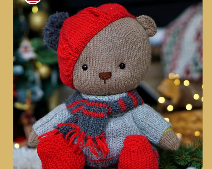 Christmas Knitting Set - Pattern for Teddy Bear and Toy clothes set - by Polushkabunny