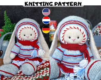 Knitting pattern doll clothes - Winter doll clothes - Toy Clothes Knitting Pattern
