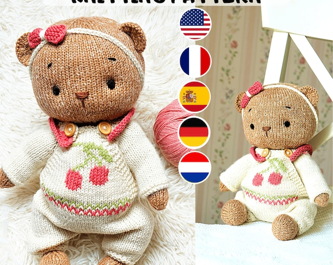 """Doll clothes knitting pattern for Teddy Bear Clothes Pattern / Knitting patterns PDF - Outfit """"Cherry"""" - Toy Clothes Knitting Pattern"""