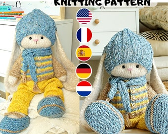Doll clothes knitting pattern for a bunny/ lamb/ puppy - Outfit Peter - Toy Clothes Knitting Pattern