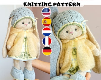 """Doll clothes knitting pattern for a bunny / lamb  - Outfit """"Pretty"""" - Toy Clothes Knitting Pattern"""