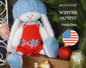 Christmas Knitting Pattern pdf - Winter Outfit for bunny doll / Knitted animals by Polushkabunny - Toy Clothes Knitting Pattern