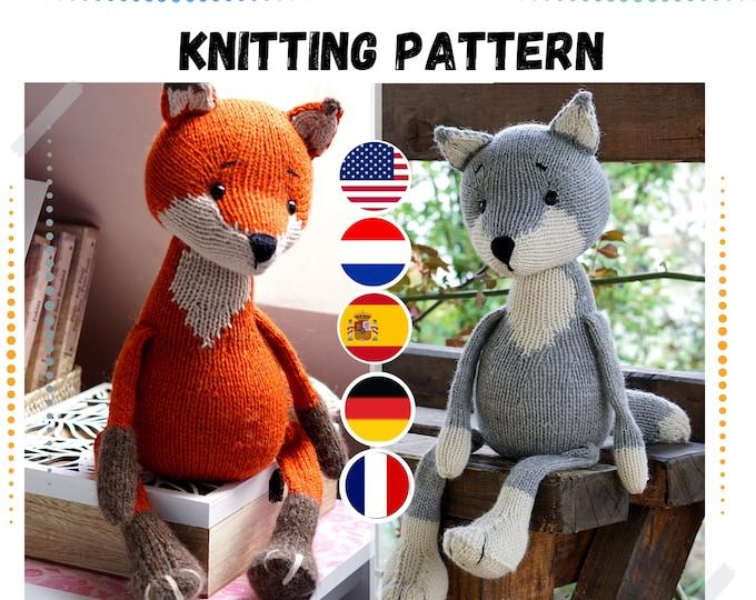 Fox and wolf knitting pattern - Toy Knitting Pattern