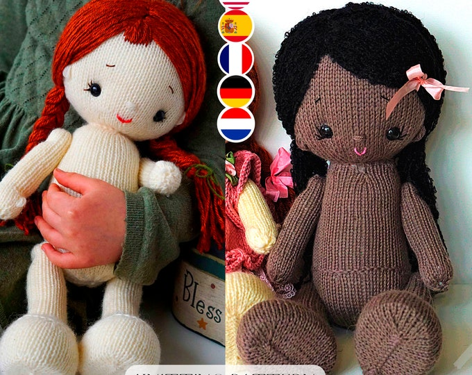 Doll Knitting Pattern/ 2 options in one - In the round + 2 Single Pointed Needles/ Knitted Dolls - Toy Knitting Pattern