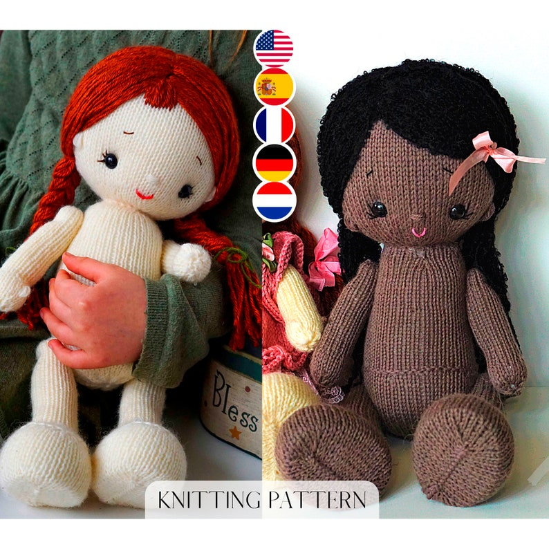 Doll Knitting Pattern/ 2 options in one  In the round  2 image 0