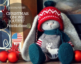 """Bunny clothes knitting pattern for a bunny/ lamb -  Outfit """"Christmas Gnome"""" - Toy Clothes Knitting Pattern"""