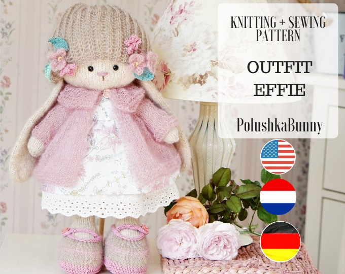 """knitting pattern for doll clothes - Outfit """"Effie"""" - Toy Clothes Knitting Pattern"""
