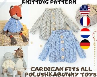 doll clothes knitting pattern / Aran Cardigan / 2 needles version - Toy Clothes Knitting Pattern