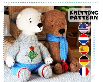 Doll clothes knitting patterns for bear / Knitted animals by Polushkabunny - Toy Clothes Knitting Pattern