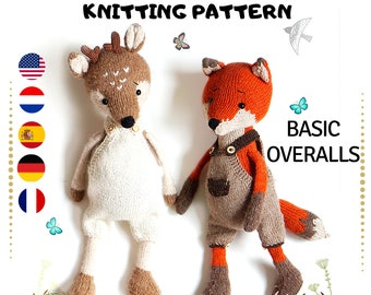Doll clothes knitting pattern - Basic Overalls - Toy Clothes Knitting Pattern