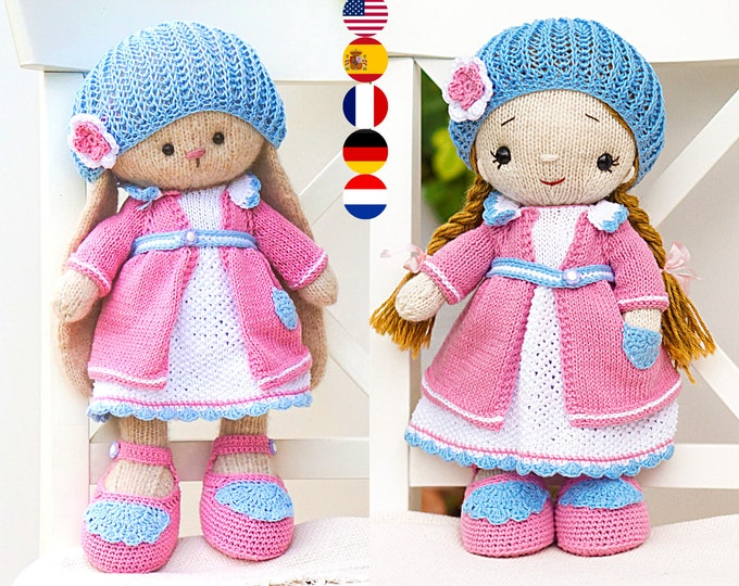 Dol Clothes Pattern - Knitting and Crochet Pattern PDF - (outfit has crocheted elements) - Toy Clothes Knitting Pattern