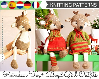 SET Knitting Patterns / Reindeer Knit pattern /Christmas Knitted Reindeers / Doll clothes - all included