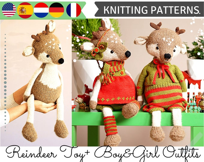 Knitting Patterns / Reindeer Knit pattern /Christmas Knitted Reindeers / Doll clothes - all included
