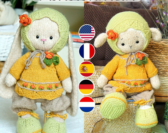 Doll clothes knitting pattern for bunny/ lamb/ puppy - Cozy Outft - Toy Clothes Knitting Pattern
