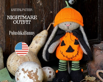 Halloween Doll clothes knitting pattern PDF - Nightmare Outfit for Toy / Knitted animals by Polushkabunny - Toy Clothes Knitting Pattern