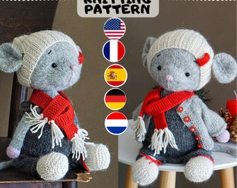 knitting pattern - Christmas Mouse Clothes /  PDF - Toy Clothes Knitting Pattern