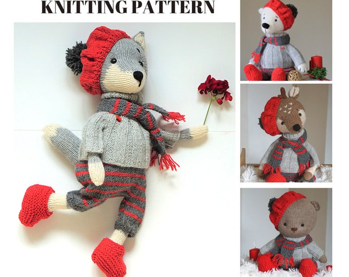 knitting pattern - Doll clothes - La France - Outfit for Reindeer Bear Wolf Fox - Toy Clothes Knitting Pattern