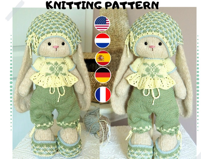 Doll clothes toy knitting pattern PDF Cute Outfit for Toys - Toy Clothes Knitting Pattern