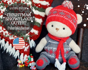 Knitting Pattern - Christmas Doll Snowflake Bear Outfit / Knitted animals by Polushkabunny - Toy Clothes Knitting Pattern