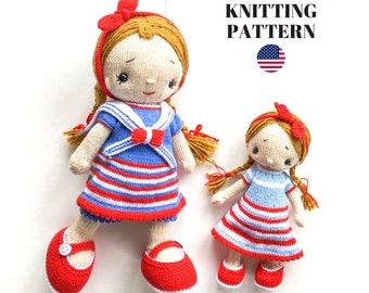 Doll Knitting Pattern/ SET /  Knitted Dolls - Toy Knitting Pattern -Polushkabunny