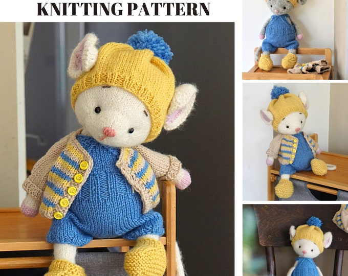 Doll clothes knitting pattern for a mouse - Casual Mouse Outfit - Toy Clothes Knitting Pattern
