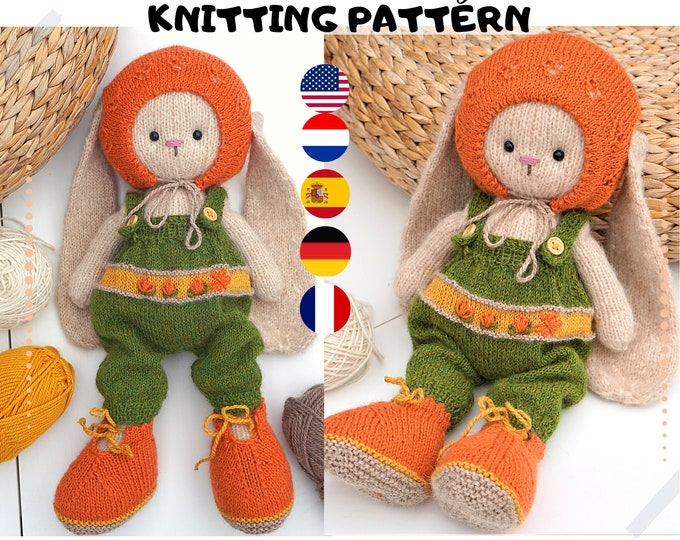 Doll clothes knitting pattern - Cozy Outfit 2 / fits bunny/lamb/puppy/ - Toy Clothes Knitting Pattern