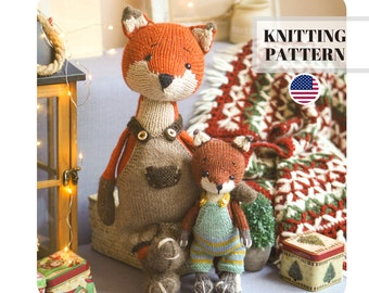 christmas knitting / fox knitting pattern / animal knitting patterns / Toy clothes - all included